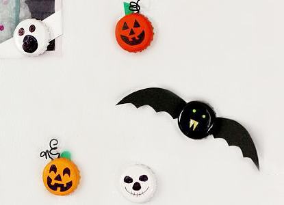 Bottle Caps Halloween Magnets