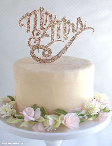 Letters Topping Wedding Cake