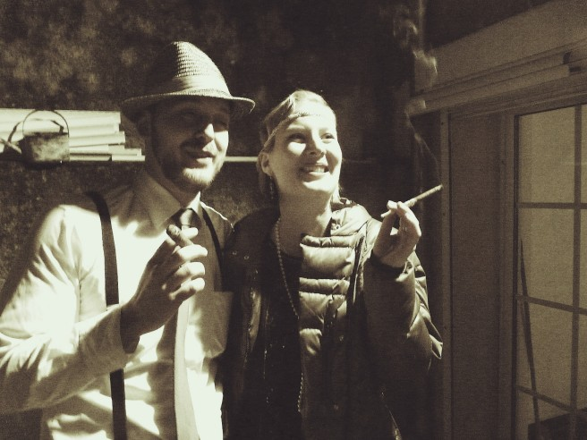 1920's speakeasy party couple