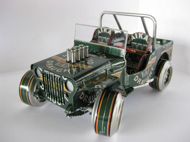 Upcycled can jeep