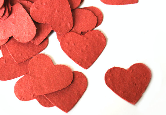 Plantable seed heart shaped confetti