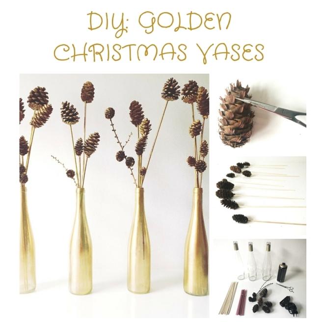 DIY GOLDEN CHRISTMAS VASES